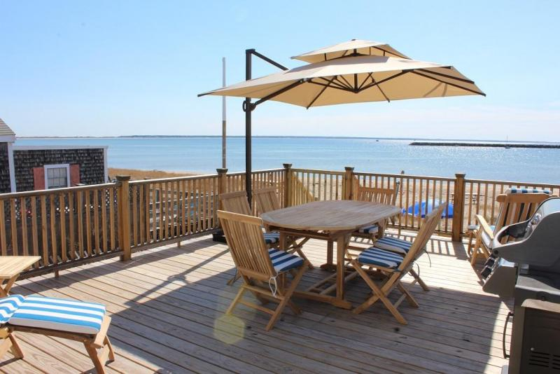 Large deck right on the beach