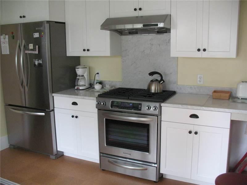 Kitchen has stainless appliances