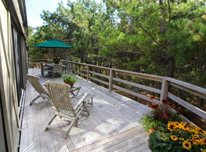 Large deck overlooks wooded lot