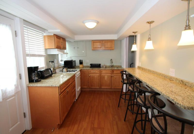Lower level kitchen with breakfast bar