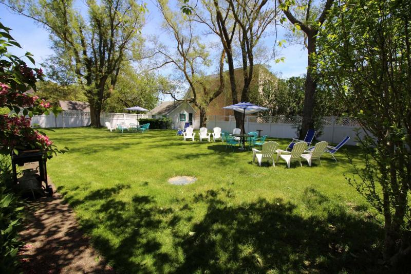 Large backyard lawn perfect for relaxing and playing