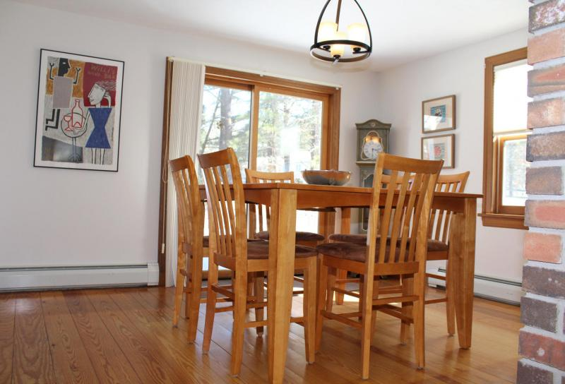 Dining room with slider to deck