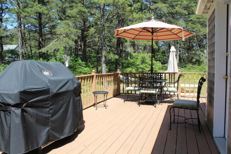 Large deck with gas grill and furniture