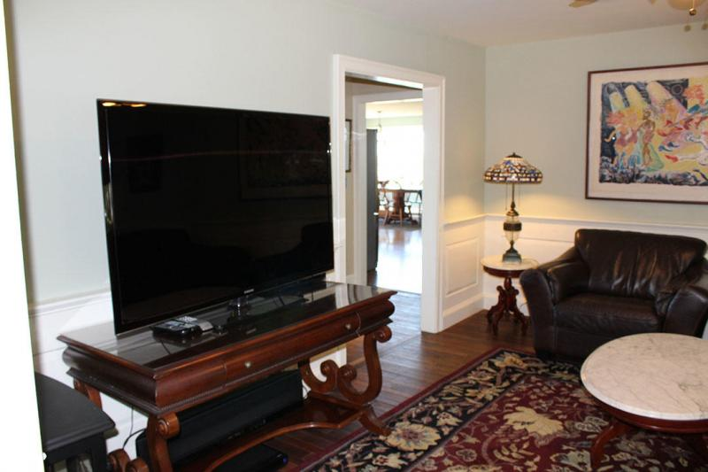 Media room with flat screen television