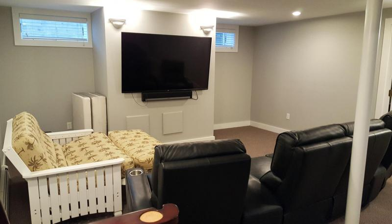 Entertainment room in lower level