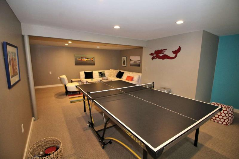 Ping pong table in lower level sitting area