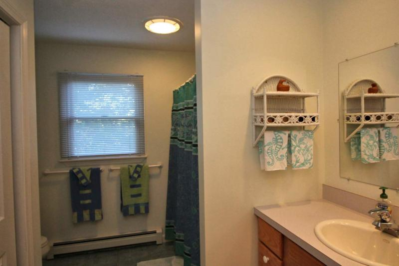 First floor full bathroom with tub and shower