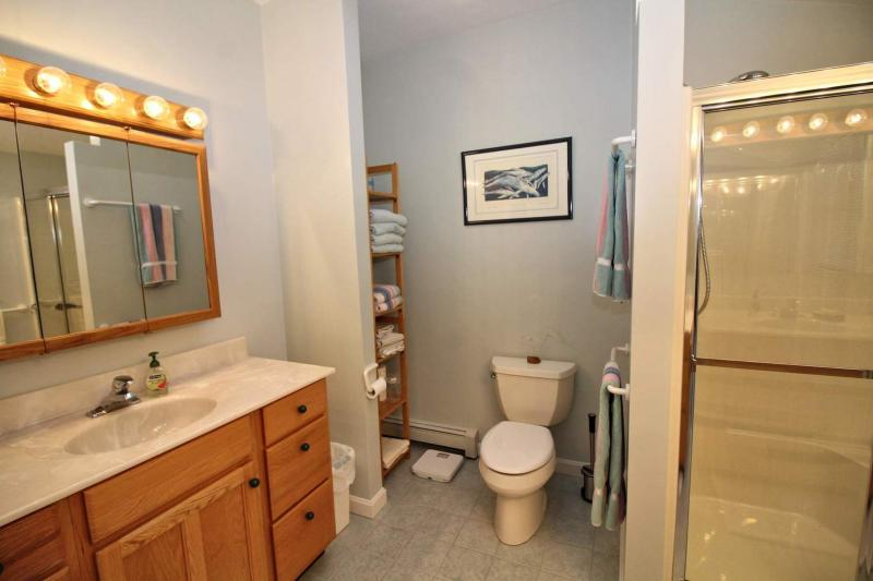 Second floor master ensuite bathroom with shower and two sinks