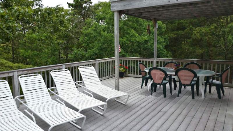 Large deck overlooks grounds