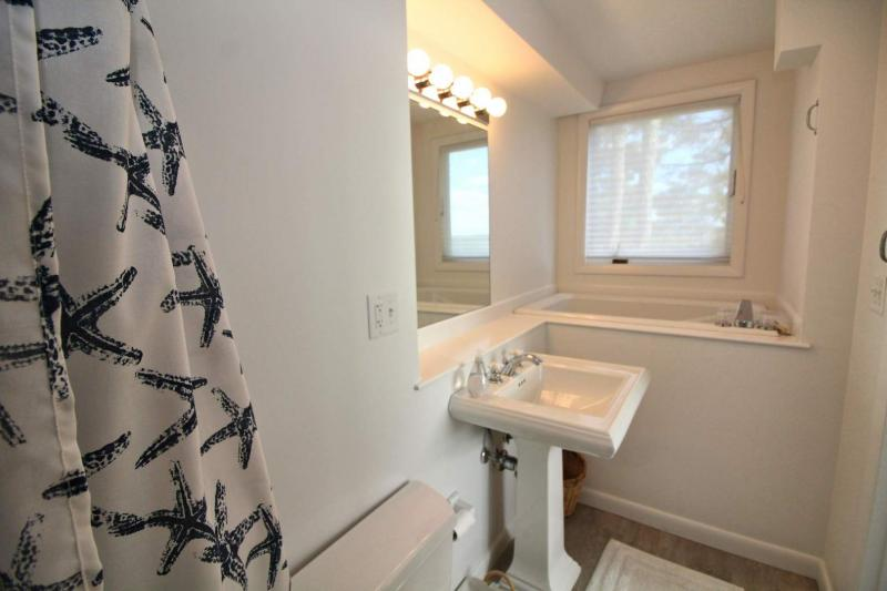 Lower level en suite bathroom with shower and soaking tub
