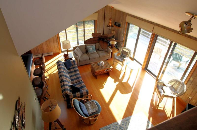 View of living room from second floor master