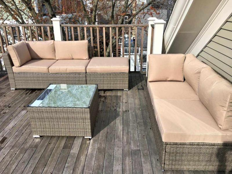 Large deck with views and comfortable furniture