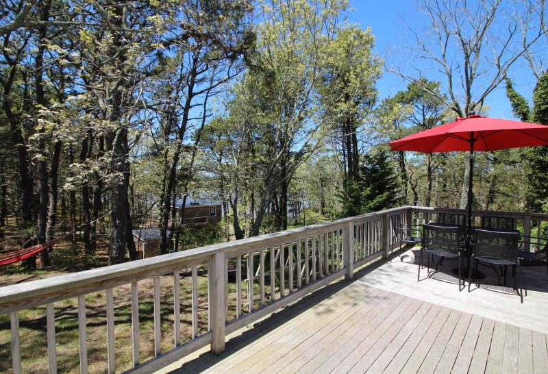 Large deck is perfect for lounging and relaxing