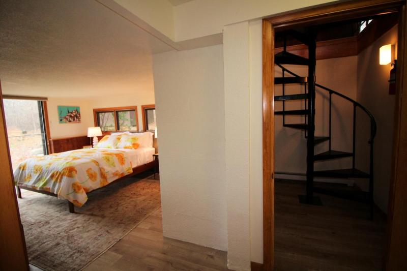 Lower level bedroom and spiral staircase