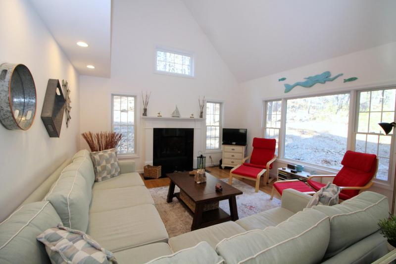 Living room has comfortable furniture and a gas fireplace