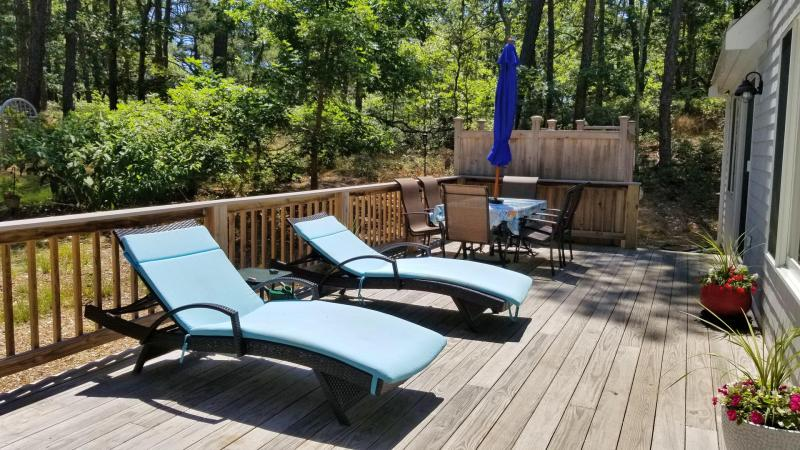 Relax and enjoy the deck with outdoor furniture and grill