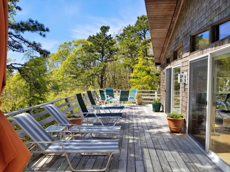 Large deck with outdoor furniture and wooded view