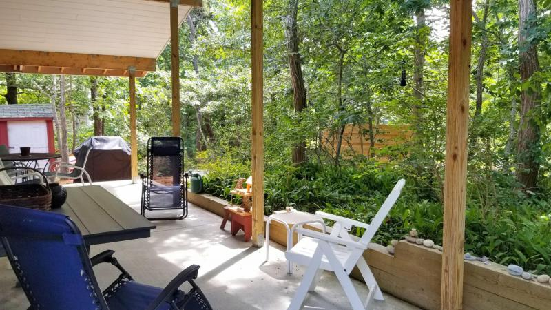 Covered patio looks out over wooded backyard