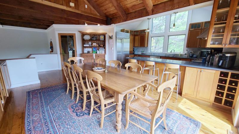 Large dining table with plenty of seating