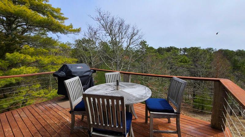 Outdoor dining area on deck off kitchen