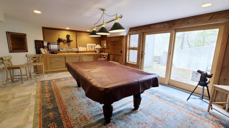 Lower level rec room with pool table