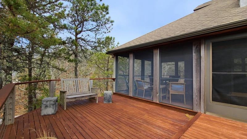 Deck with lovely screen porch