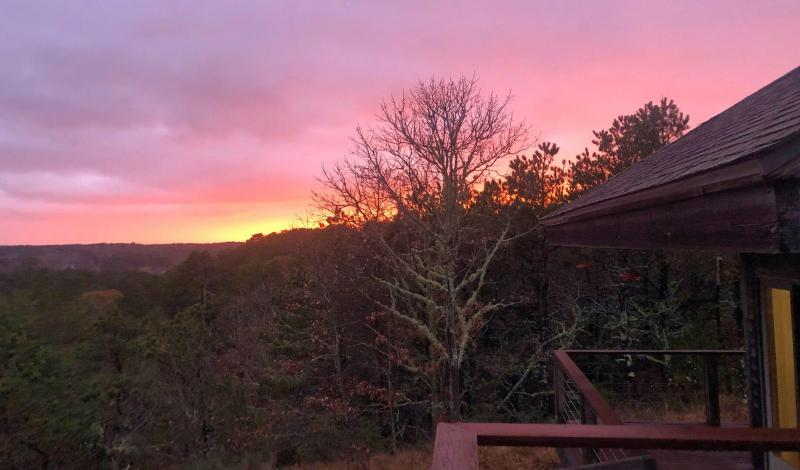 Sunset view from the deck off the kitchen