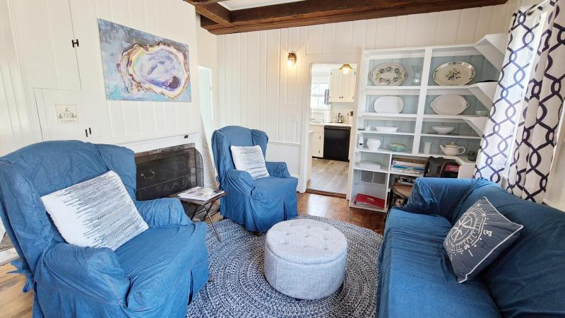 Cozy living room has comfortable seating