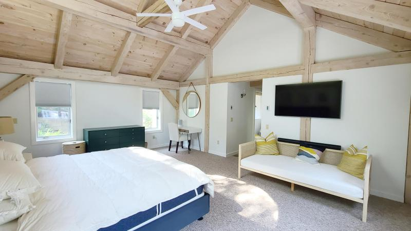 First floor master bedroom with king bed