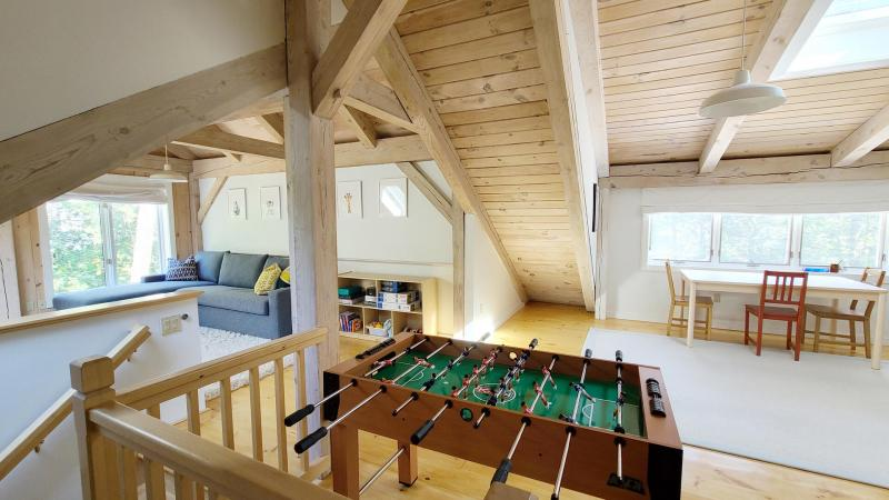 Second floor family room with game table and foosball