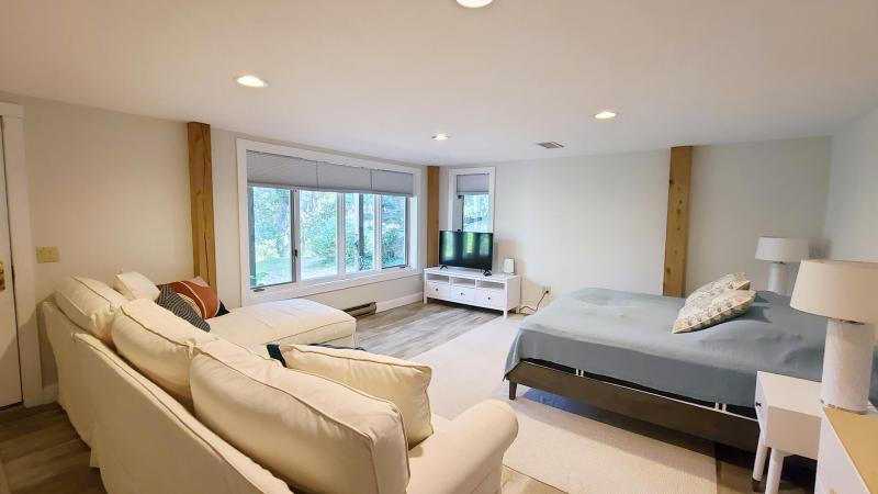Lower level with king bed and exterior door