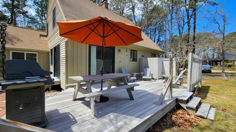 Deck has a gas grill and picnic table plus additional seating