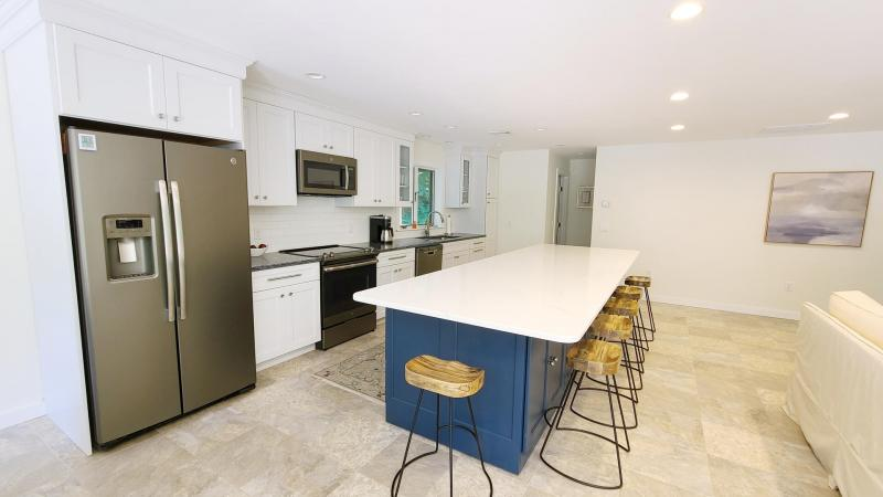Bright kitchen with stainless appliances