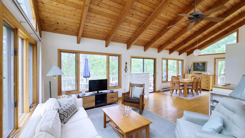 Open and bright main living area with vaulted ceiling
