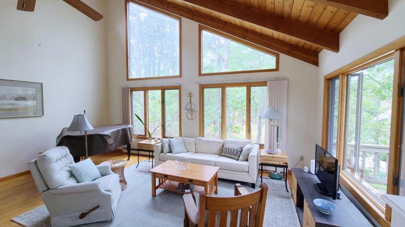 Living room has vaulted ceiling and comfortable seating