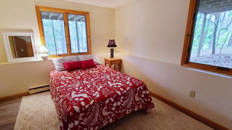 Lower level bedroom with full bed