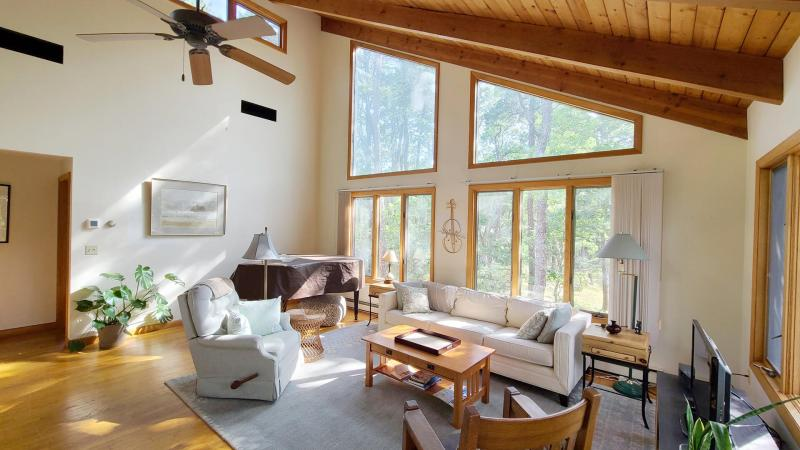 Living room has a vaulted ceiling and comfortable seating
