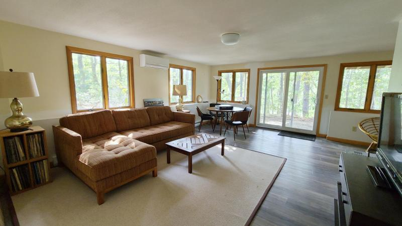 Lower level den with comfortable seating and game table