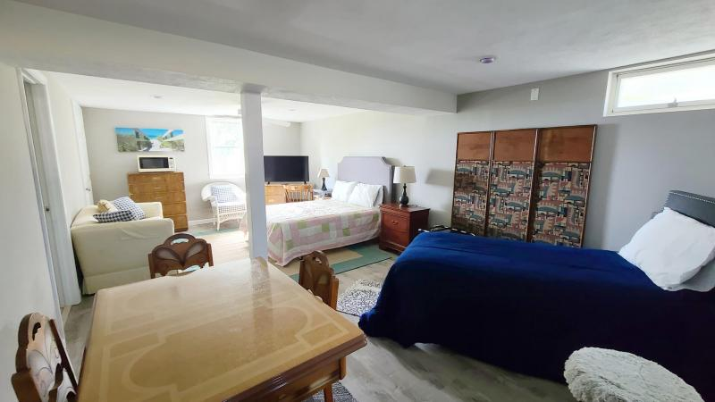 Lower level with double and twin beds plus game table and TV
