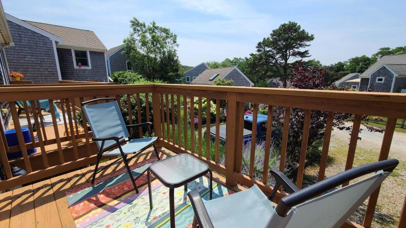 Relax with a cup of coffee on the deck