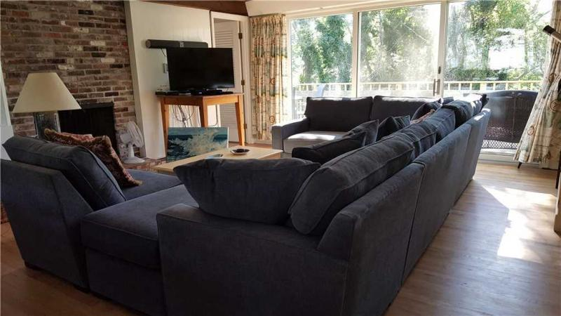 Living room with large sectional sofa