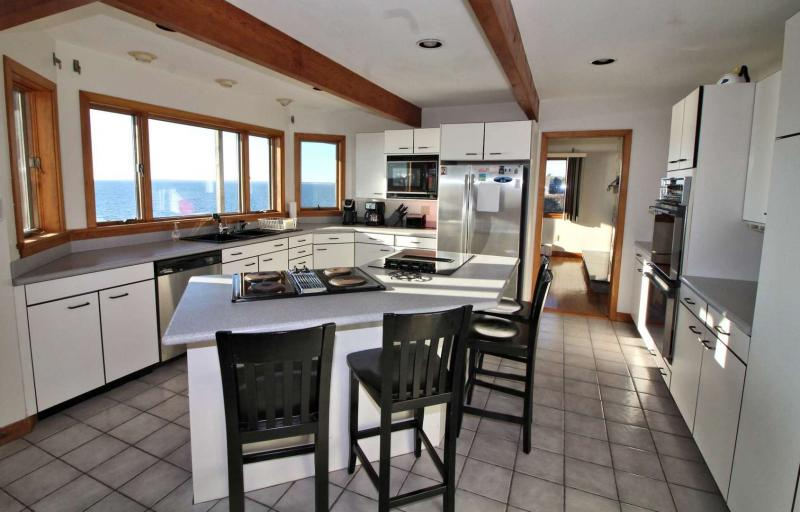 Large kitchen with water views