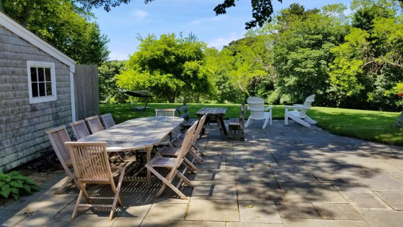 Patio with large dining table overlooking lawn