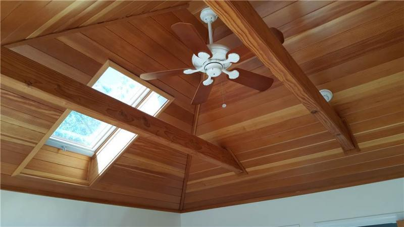 Second floor master has skylight and ceiling fan