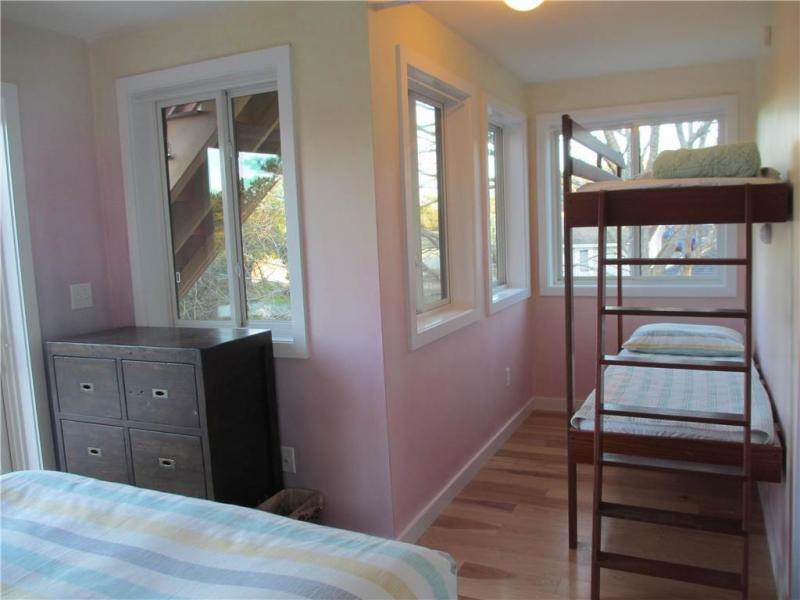 Second floor bedroom with queen and bunk