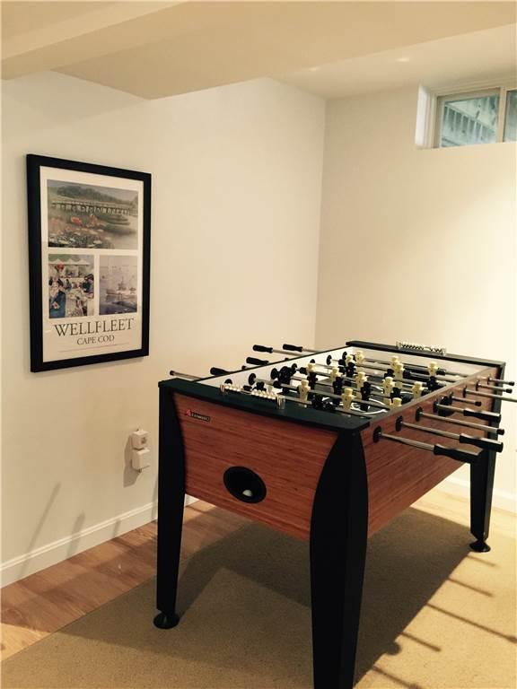 Foosball table in lower level family room
