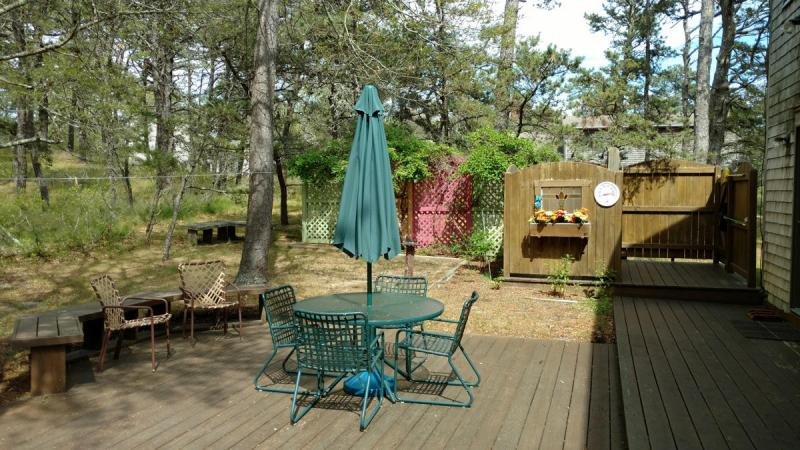 Back deck has furniture and enclosed outdoor shower
