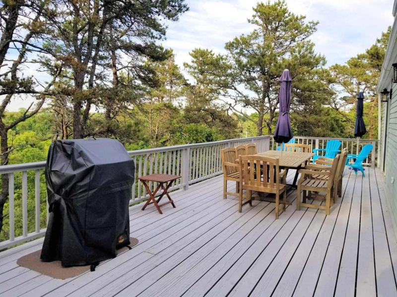 Large back deck with table and gas grill