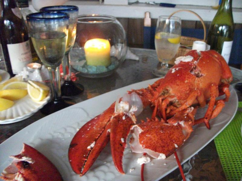 Lobster dinner on the porch