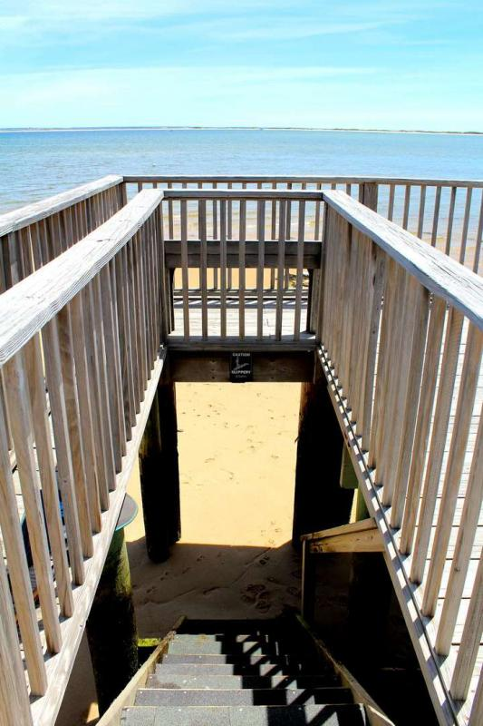 Direct stairs to the beach from the common deck